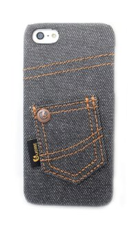 Чехлы с вышивкой для iphone 5/5s Denim JEANS STYLE джинсовый чехол нашивной карман №2