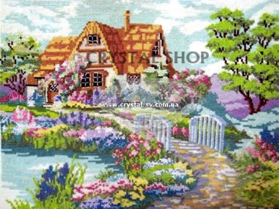 Вышивка домик природа