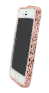 Бампер для iPhone 5/5s Luxury BVLGARI метал со стразами Snake Head GOLD PINK