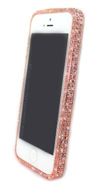 Бампер для iphone 5/5s DIAMOND Luxury metal bling GOLD PINK