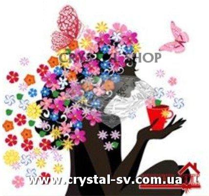 Алмазная вышивка бабочек на цветах