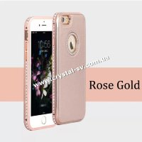 crystal shop интернет магазин бампер-чехол кожа со страз для телефона iPhone 5s Crystal Luxe Rose Gold