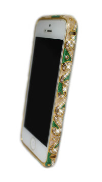 Бампер для iphone 5/5s Diamond LUXURY national style GREEN