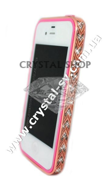 Бампер алюминиевый для iphone 4/4s Luxury Ultra-thin Diamond Strass PINK