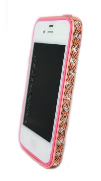 Бампер алюминиевый для iphone 5/5s Luxury Ultra-thin Diamond Strass PINK