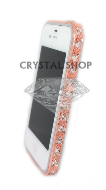 Бампер алюминиевый для iphone 5/5s Luxury Ultra-thin Diamond Strass GOLD PINK