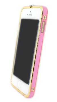Бампера на телефон для iPhone 5/5s камни HERMES logo метал original box GOLD Pink