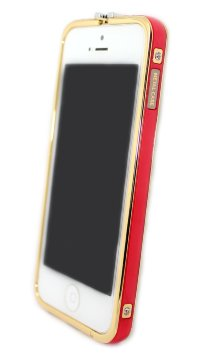 Бампера на телефон для iPhone 5/5s камни HERMES logo метал original box GOLD Red