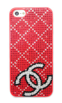 Чехол для Apple iPhone 5/5s стразами Rhinestone Bling Diamond CHANEL logo RED