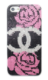 Чехол для Apple iPhone 5/5s стразами Rhinestone Bling Diamond CHANEL logo Black