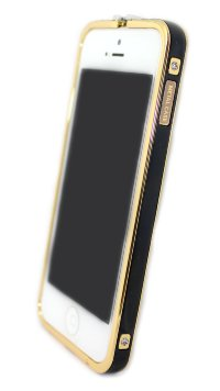 Бампера на телефон для iPhone 5/5s камни HERMES logo метал original box GOLD Black