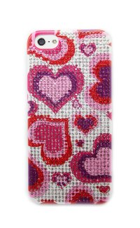 Чехол для Apple iPhone 5/5s из страз Fashion Rhinestone Bling Diamond сердце LOVE is..