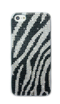 Чехол для Apple iPhone 5/5s из страз Fashion Rhinestone Bling Diamond черно-белый ZEBRA