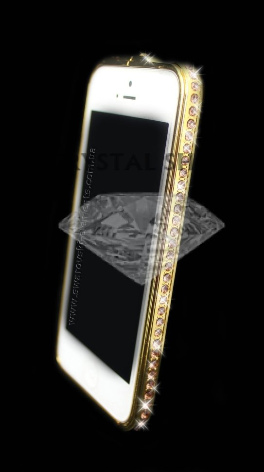 Бампер для iphone 5/5s Deluxe Crystal Diamond GOLD №1 фото 1 — CRYSTAL SHOP