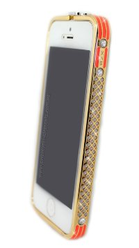 Бампер на телефон для iPhone 5/5s стразами Chanel logo металлический design Rhinestones GOLD Orange