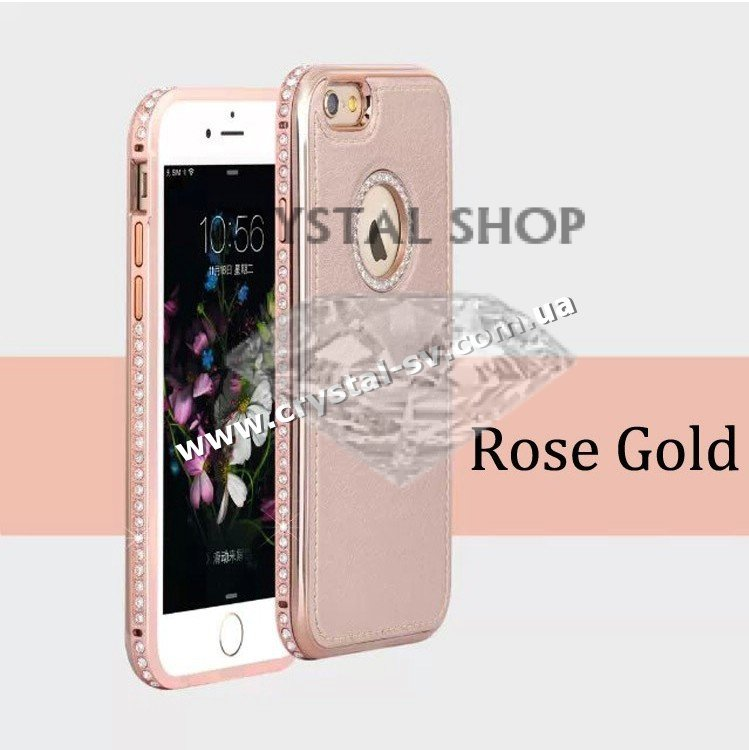 crystal shop интернет магазин бампер-чехол кожа со страз для телефона iPhone 5s Crystal Luxe Rose Gold фото 1 — CRYSTAL SHOP