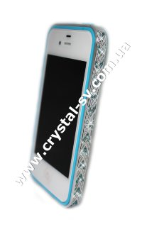 Бампер алюминиевый для iphone 4/4s Luxury Ultra-thin Diamond Strass BLUE