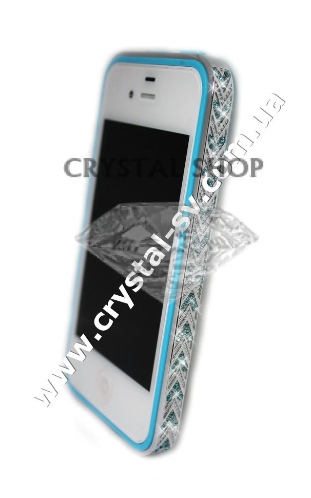 Бампер алюминиевый для iphone 4/4s Luxury Ultra-thin Diamond Strass BLUE фото 1 — CRYSTAL SHOP