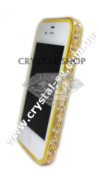 Бампер алюминиевый для iphone 4/4s Luxury Ultra-thin Diamond Strass YELLOW