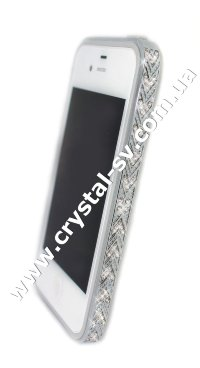 Бампер алюминиевый для iphone 4/4s Luxury Ultra-thin Diamond Strass SILVER