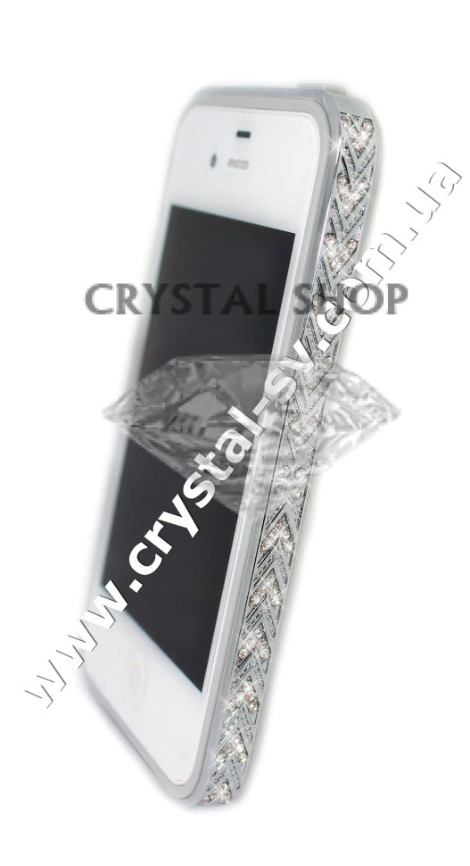 Бампер алюминиевый для iphone 4/4s Luxury Ultra-thin Diamond Strass SILVER фото 1 — CRYSTAL SHOP