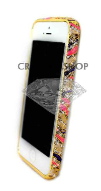 Бампер для iphone 5/5s Diamond LUXURY Ceramica zebra VIOLET