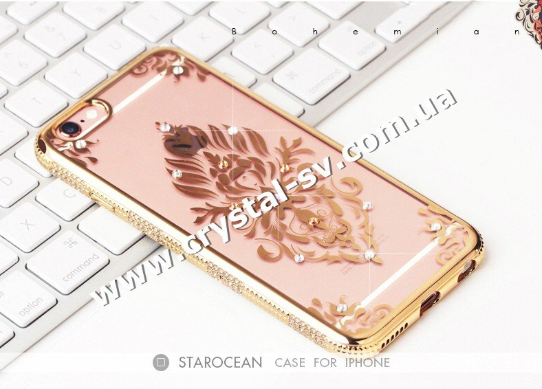 Чехол iphone 6 6s Силикон Secret Garden Flower GOLD фото 1 — CRYSTAL SHOP